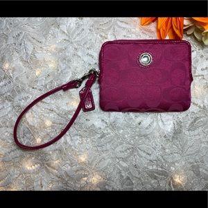Mini Dark Pink Coach Wristlet